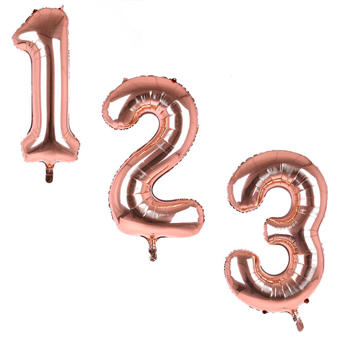 Rose Gold Giant Number Helium Balloons 0-9 - DEFLATED