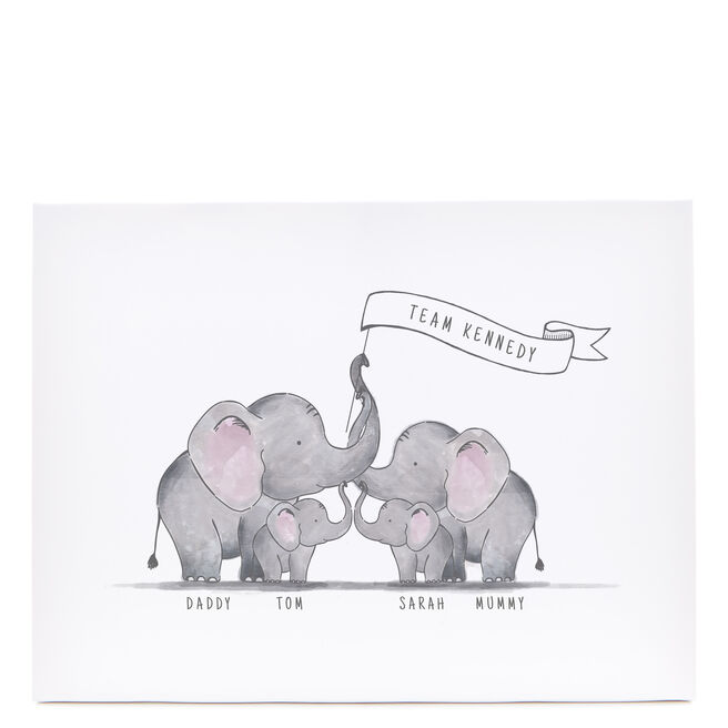 Personalised Canvas - 16x12 Inches (Landscape) - Family of Elephants