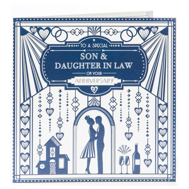 Platinum Collection Anniversary Card - Son & Daughter In Law