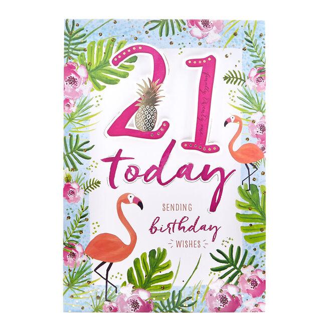 Signature Collection Birthday Card - 21st Flamingos
