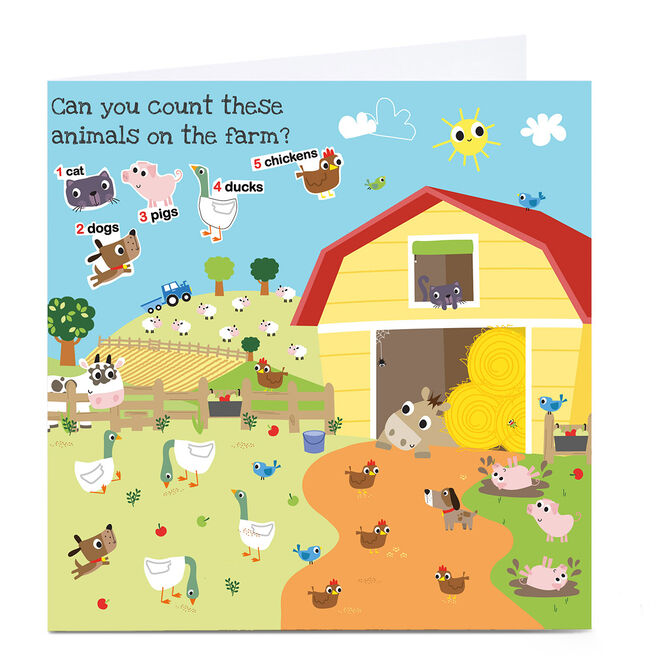 Personalised Rachel Griffin Birthday Card - Can You Count, Animals?
