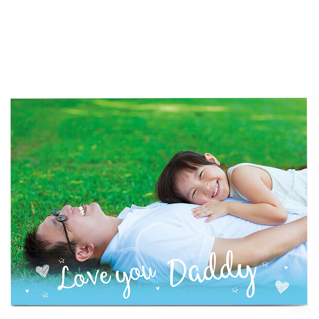 Photo Card - Light Blue Love You Daddy