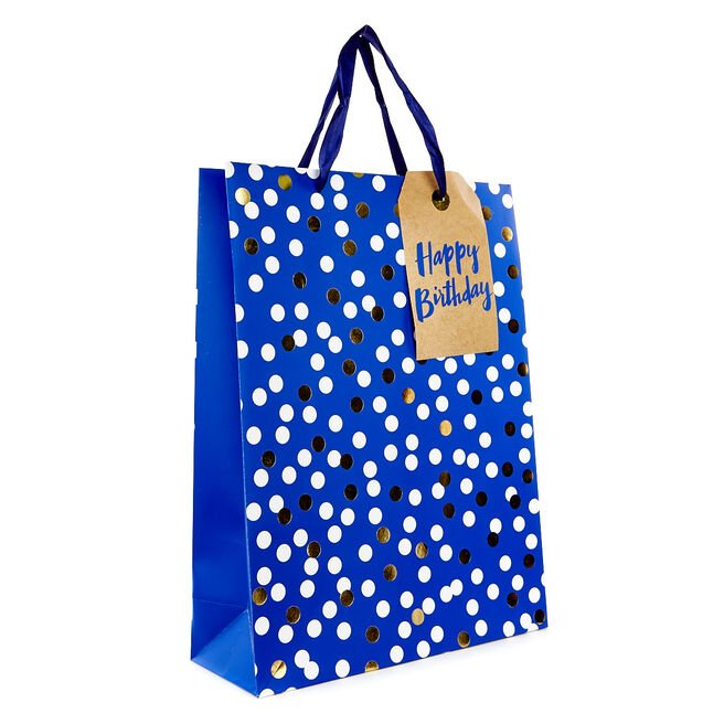 Large Portrait Gift Bag - Blue Spots, Happy Birthday