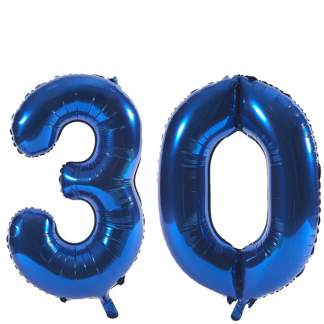 Age 30 Giant Foil Helium Numeral Balloons - Blue (deflated)