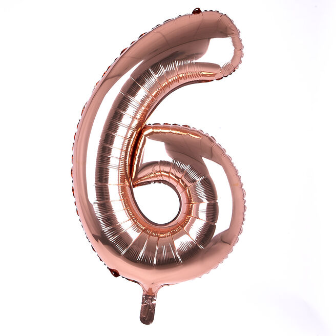 Rose Gold Number 6 Giant Foil Helium Balloon INFLATED