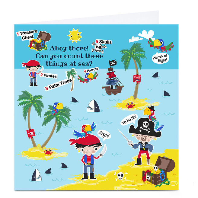 Personalised Rachel Griffin Birthday Card - Can You Count, Pirate Items?