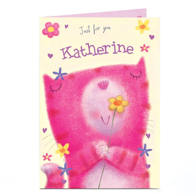 Personalised Card - Cat With Flower