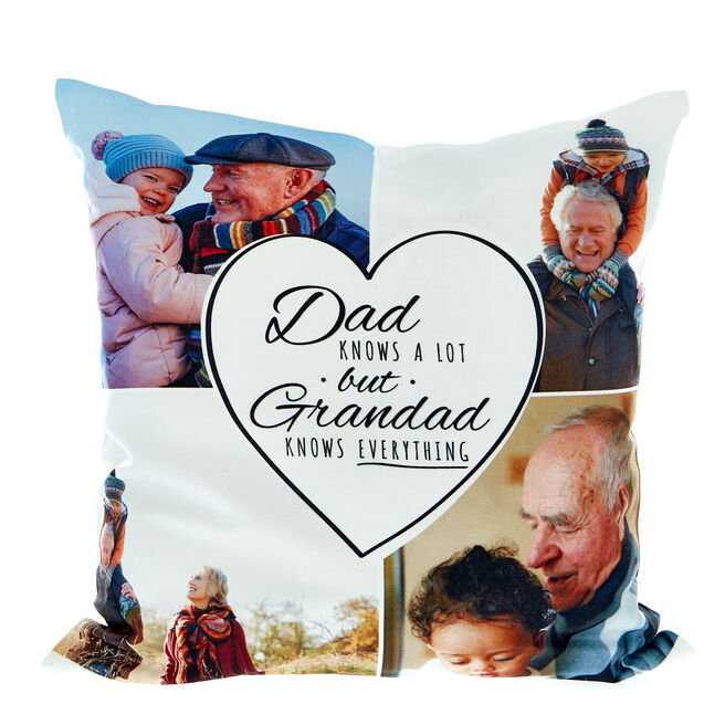 Multi Photo Cushion - Dad Knows A Lot But Grandad Knows Everything