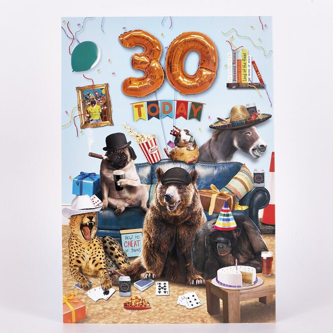 Signature Collection Birthday Card - 30 Today Party Animals