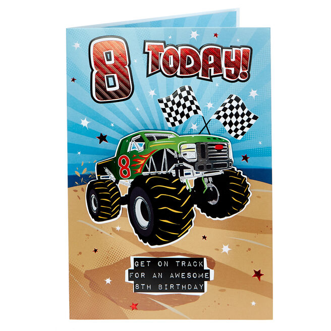 8th Birthday Card - Monster Truck