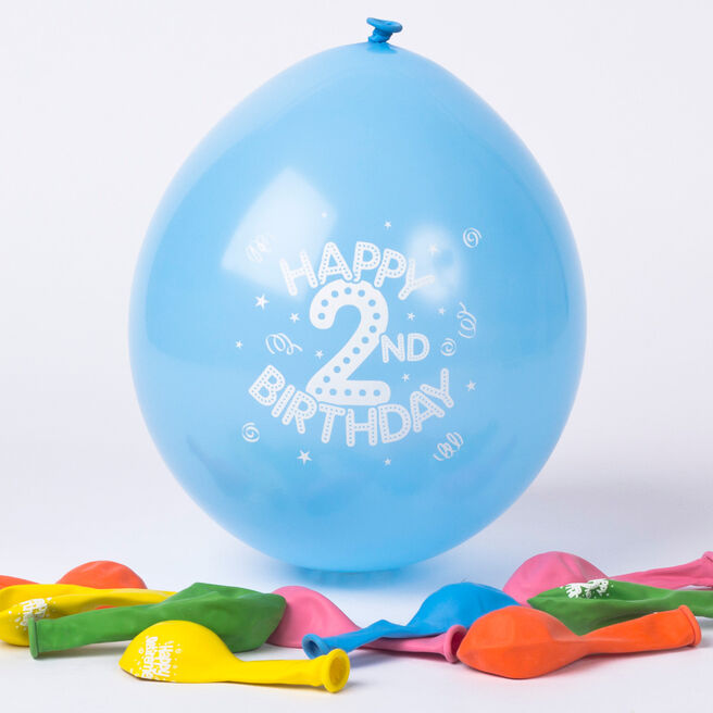 Multicoloured Age 2 Small Latex Balloons, Pack Of 10