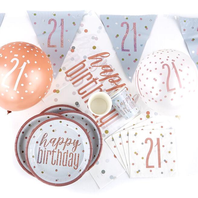 Rose Gold 21st Birthday Tableware & Decoration Bundle - 78 pieces