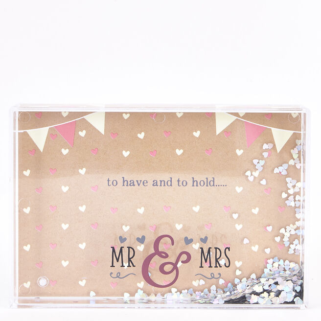 Mr & Mrs Glitter Heart Water Photo Frame