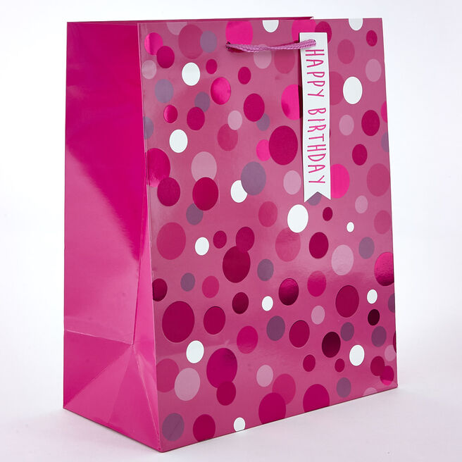 Pink Sparkle-Spotted Birthday Gift Bag