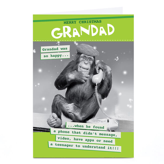 Personalised Quitting Hollywood Christmas Card - Monkey on Phone