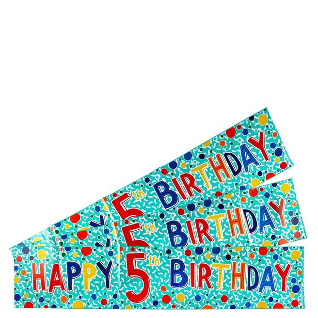 Holographic 5th Birthday Party Banners - Pack Of 3