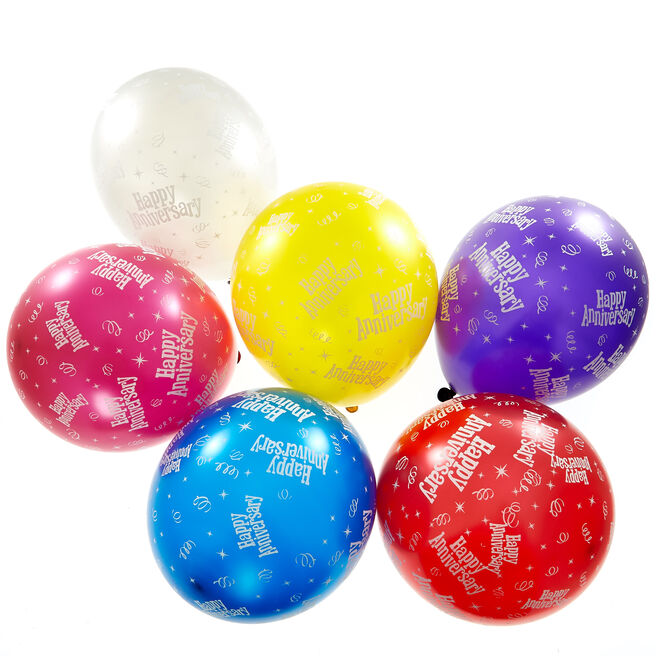 Multicoloured Happy Anniversary Latex Balloons - Pack Of 6
