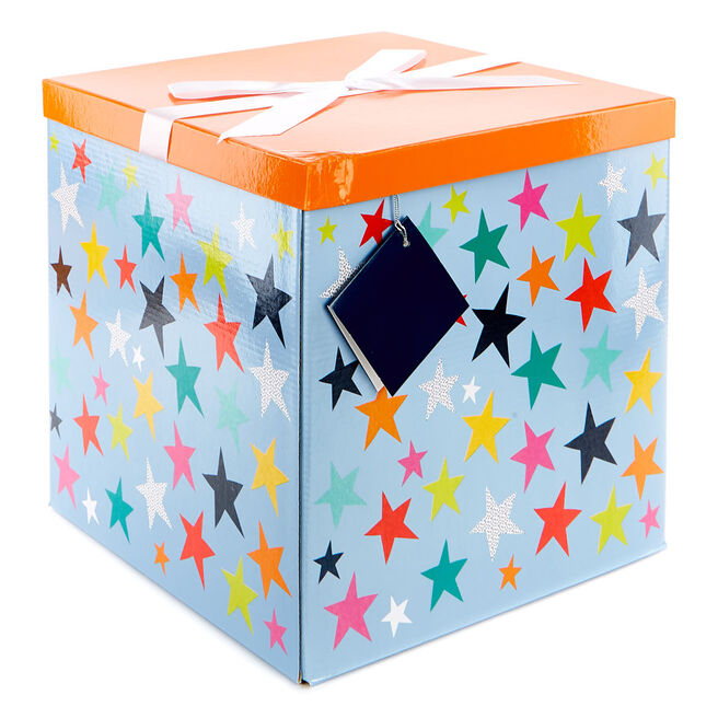 Jumbo Flat-Pack Gift Box - Orange & Blue Stars