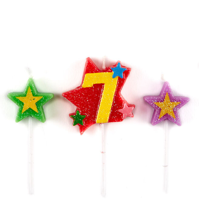 Number 7 Star Birthday Candles - Pack Of 3