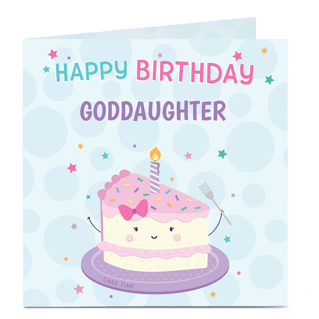 Personalised Birthday Card - Birthday Cake, Goddaughter