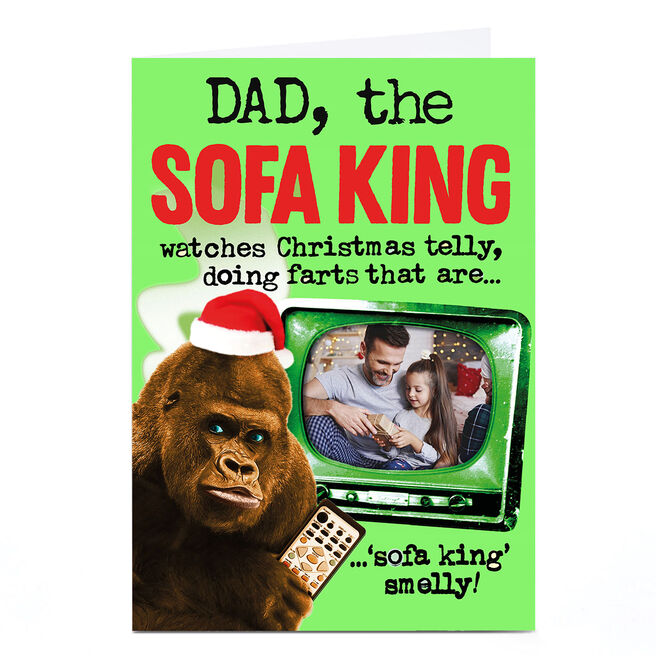 Personalised PG Quips Christmas Photo Card - The Sofa King