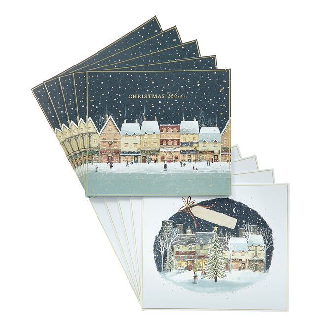 Box of 12 Deluxe Village Scene Charity Christmas Cards - 2 Designs