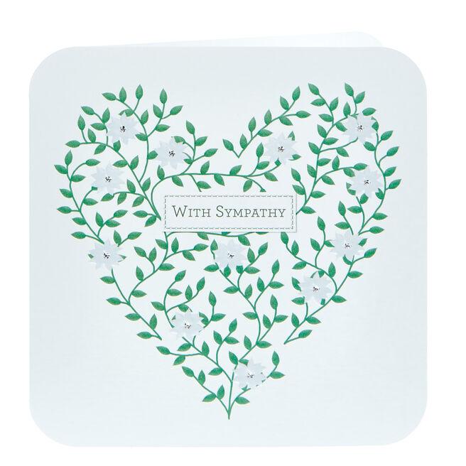 Sympathy Card - Floral Heart