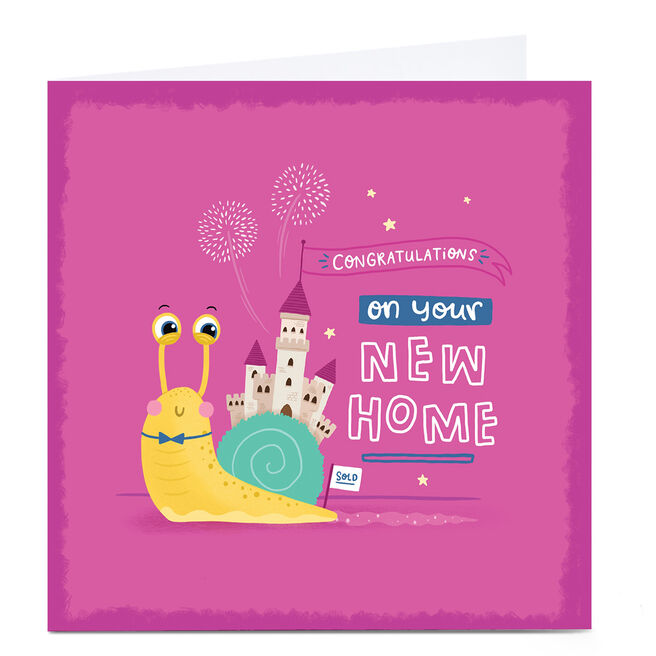Personalised Blue Kiwi New Home Card - Snail
