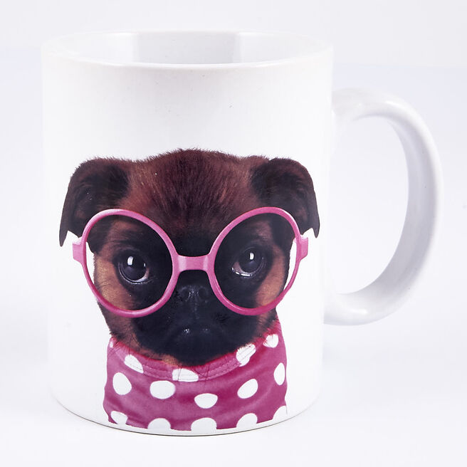 Pug with Pink Glasses Large Mug