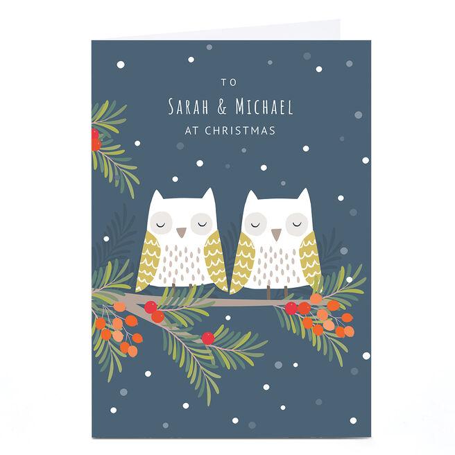 Personalised Klara Hawkins Christmas Card - Owls