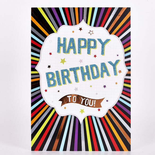 Signature Collection Birthday Card - Colourful Stripes