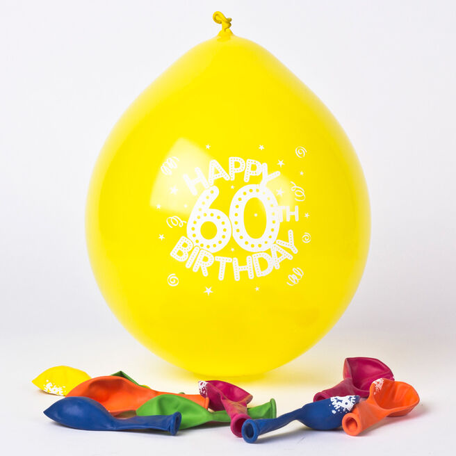 Multicoloured Age 60 Small Air-fill Latex Balloons, Pack Of 10
