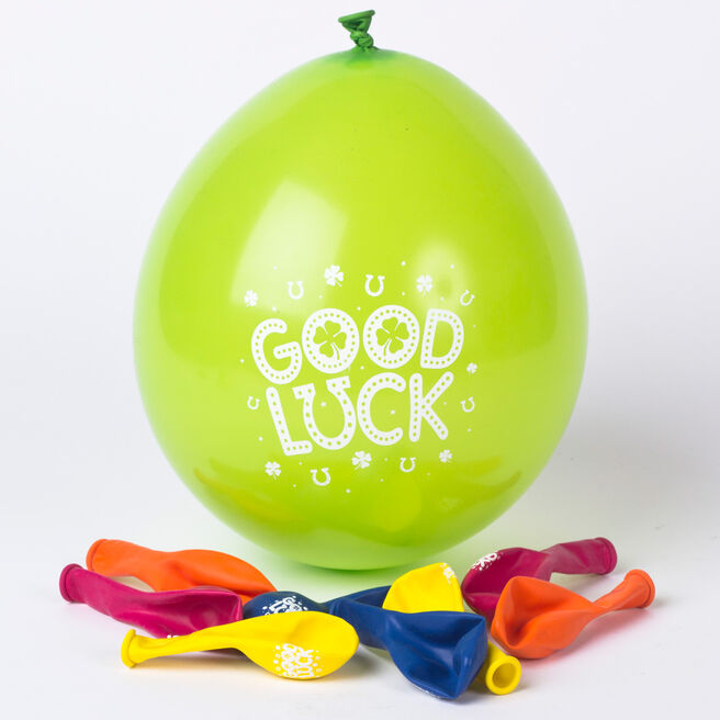 Multicoloured Good Luck Small Latex Balloons - Pack Of 10