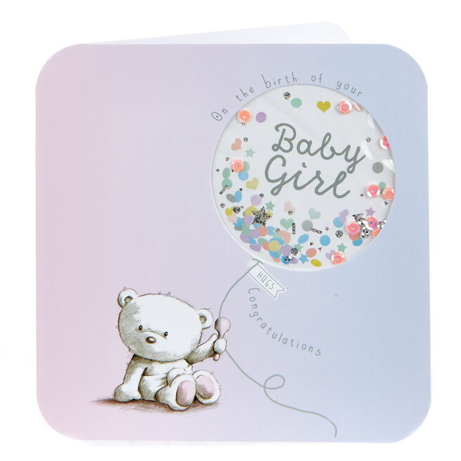 Boutique Collection Hugs Bear New Baby Card - Girl