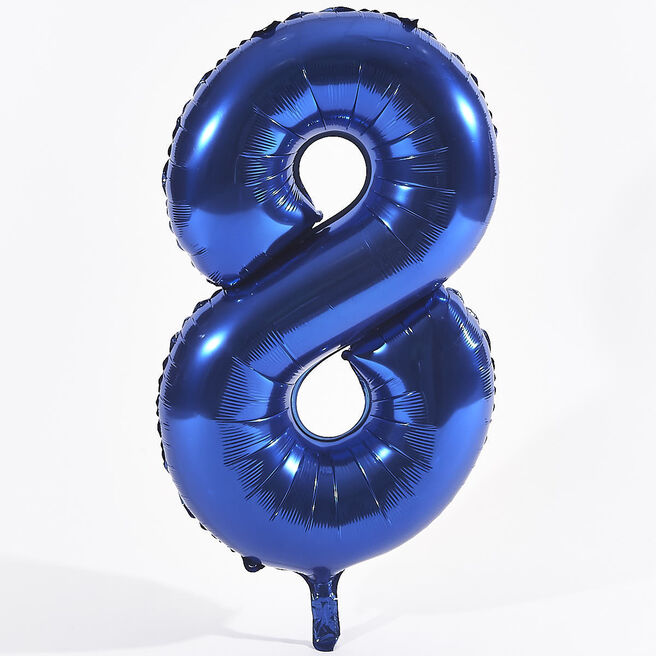 Blue Number 8 Foil Giant Helium Balloon (Deflated)
