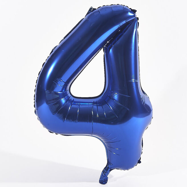 Blue Number 4 Foil Giant Helium Balloon (Deflated)