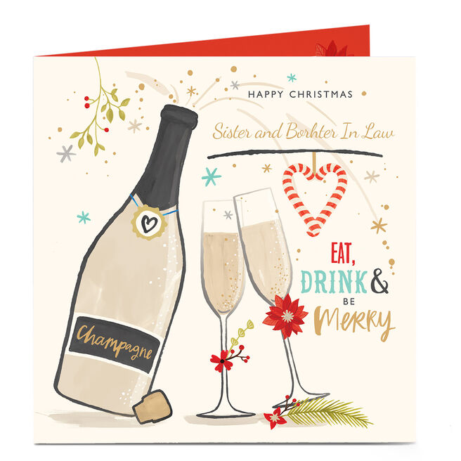 Personalised Christmas Card - Be Merry! Sister & Brother-in-law