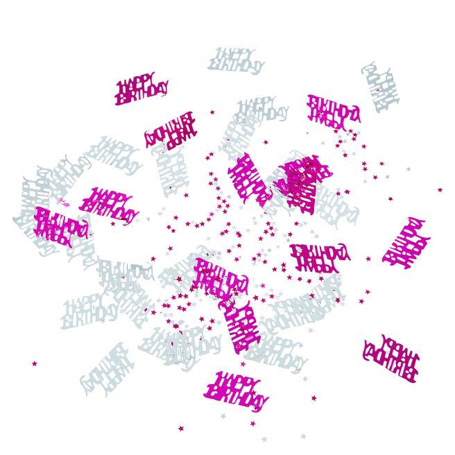 Metallic Pink & Silver Happy Birthday Foiletti - Pack Of 3