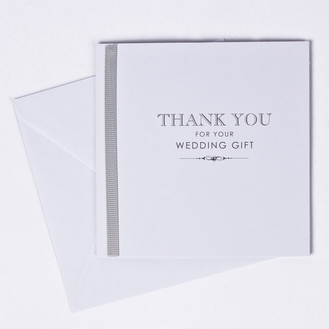 White Wedding Gift Thank You Cards, Pack of 10