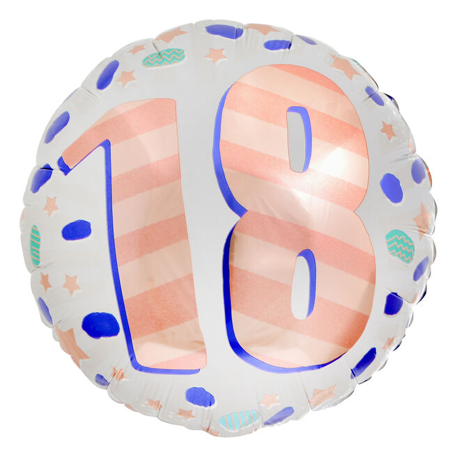 Spots & Stripes 18th Birthday 18-Inch Foil Helium Balloon