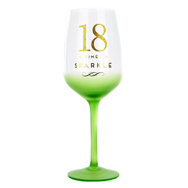 18th Birthday Wine Glass - Time To Sparkle