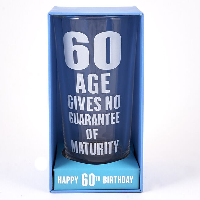 60th Birthday Sentiment Pint Glass