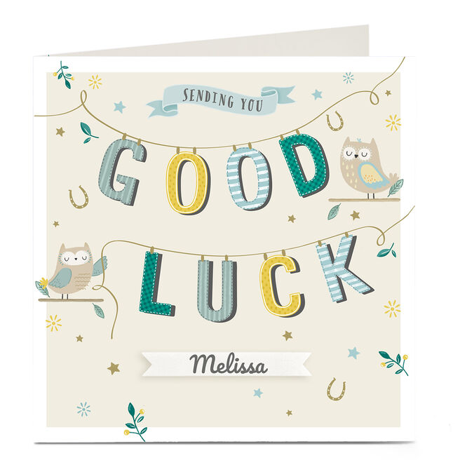 Personalised Good Luck Card - Owl