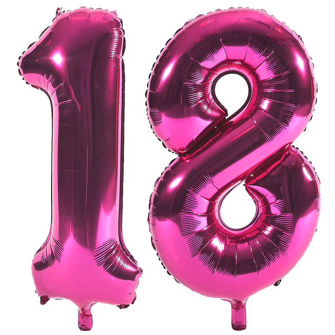 Age 18 Giant Foil Helium Numeral Balloons - Pink (deflated)
