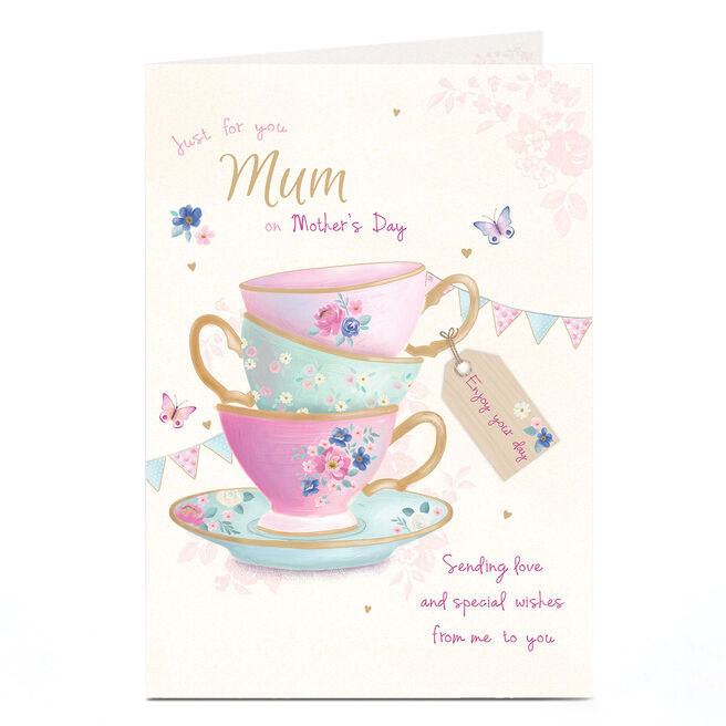 Personalised Mother's Day Card - Floral Teacups