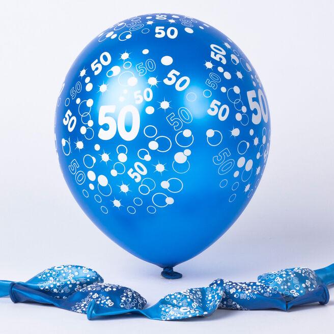 Metallic Blue Circles 50th Birthday Helium Latex Balloons - Pack Of 6
