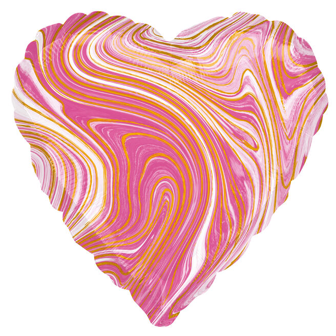 Pink Heart Marble-Effect 17-Inch Foil Helium Balloon