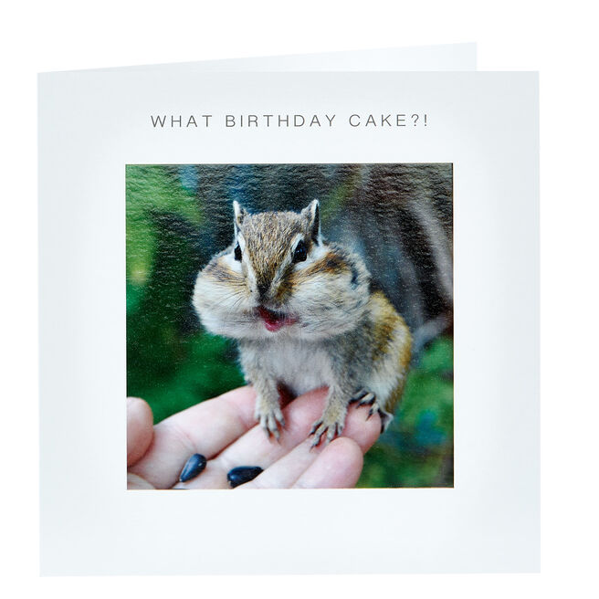 Birthday Card - What Cake, Chipmunk