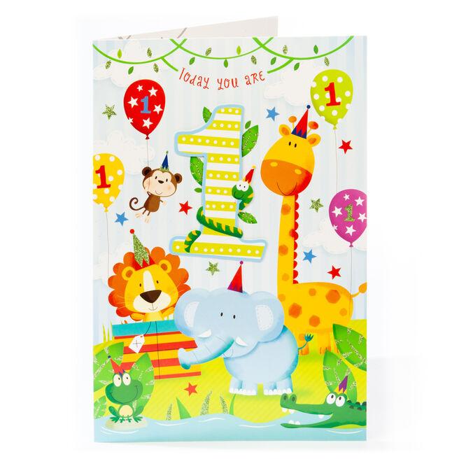 Giant 1st Birthday Card - Jungle Animals