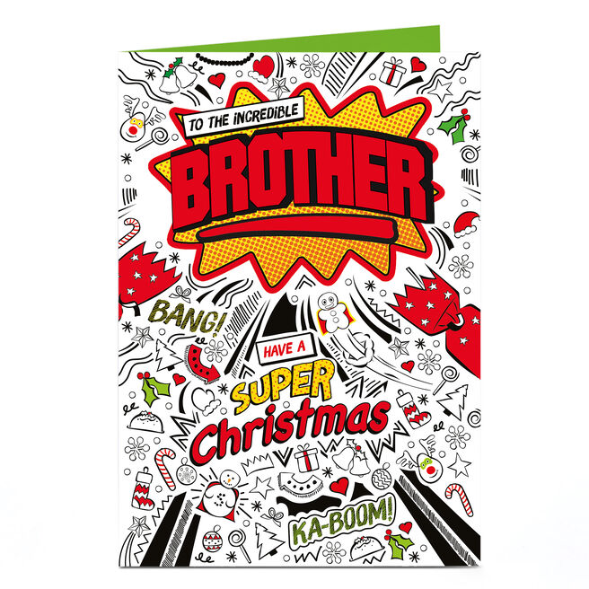 Christmas Personalised Card - SUPER Christmas Brother